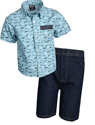 Quad Seven Boys 2-Piece Short Set (Woven Top and Twill/Denim Shorts) (Blue Print/Blue Denim, 5/6)'