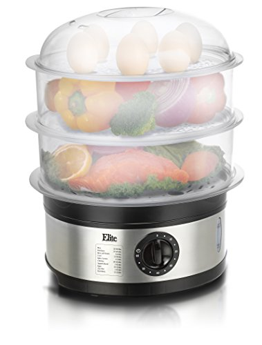 Elite Platinum EST-2301 Maxi-Matic BPA-Free 8.5 Quart 3-Tier Food Steamer, Stainless Steel