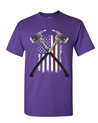 Firefighter Axes T-Shirt Fire Dept US Flag Thin Red Line FD Mens Tee Shirt Purple L -