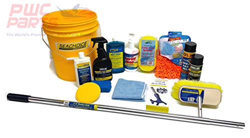 SENECA Marine Premium Boat Wash Cleaning Detailing Washing Maintenance Starter Kit w Premium Marine Wax, Applicator Pads, Vinyl Dressing, Sponge, Microfiber Mitt, Spray Polish, 5 Gal Bucket Brush Kit