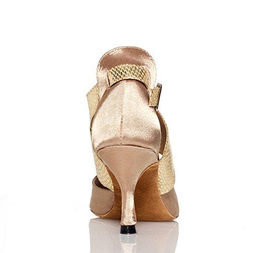 Minishion Kvinna Th013 Fotled Wrap Satin Bröllop Balsal Latin Taogo Dans Sandaler Beige