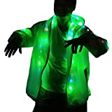 LED Party Costume Rave Hip-hop Light up Women Mens Hoodie Jacket for Christmas Party (US XL/2XL) White