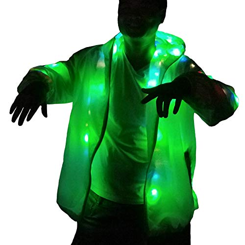LED Party Costume Rave Hip-hop Light up Women Mens Hoodie Jacket for Christmas Party (US XL/2XL) White ()
