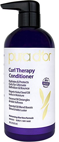 PURA D'OR Curl Therapy Conditioner for Curly, Wavy or Frizzy Hair, Improves Shine, Definition & Bounce, Gentle Sulfate Free Formula Infused with Natural & Organic Ingredients for Men & Women, 16 Fl Oz ()