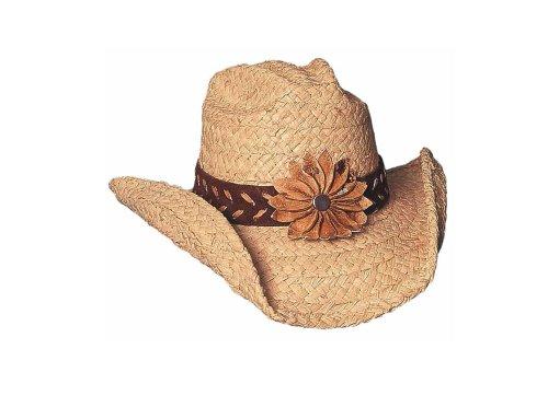 Bullhide Montecarlo Sunset Twisted Raffia Western Hat w Floral Concho Natural Medium