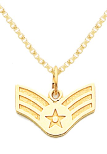 (US Jewels And Gems 14k Yellow Gold US Air Force Senior Airman Military Pendant 2.2mm Box Chain Necklace)