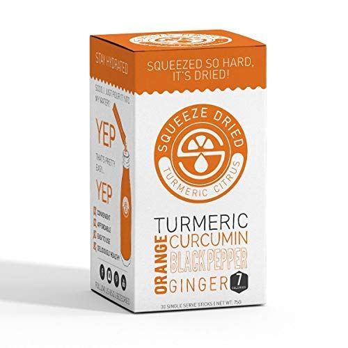 Squeeze Dried Orange Turmeric Curcumin with Ginger Black Pepper Anti Inflammatory, Antioxidant Rich to Relieve Joint Pain, Boost Immunity and Support Anti Aging – 30 Sticks