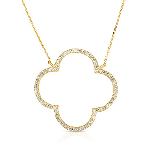 (Unique Royal Jewelry Sterling Silver Open Four Leaf Clover Cubic Zirconia Necklace with Adjustable Length. (14K Yellow Gold Plated))