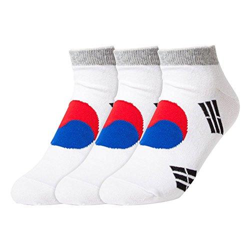 Sockstheway Korea Flag Ankle Socks for Women Girls (Korea Flag, 3P)