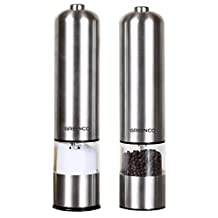 Greenco GRC0211 Automatic Electric Pepper Mill and Salt Grinder, Stainless Steel