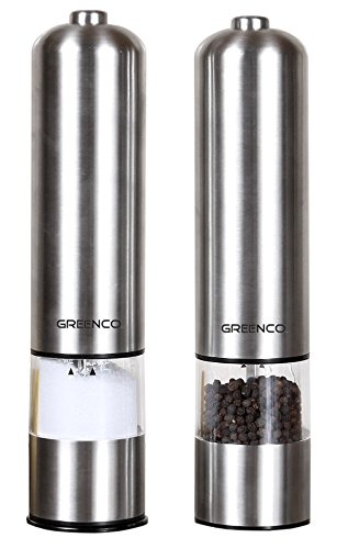 Greenco GRC0211 2-Pack Automatic Electric Pepper Mill and Salt Grinder, Stainless Steel by Greenco