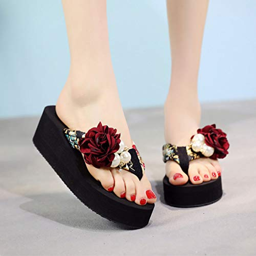 Pantofole Antiscivolo Fiori Da Alto Spiaggia Scarpe 42 Moda Huyp Infradito Cunei dimensioni Tacco nE0Er