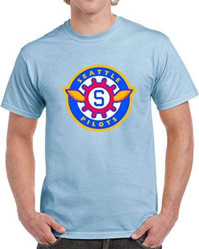 (Seattle Pilots Defunct Baseball Team Vintage Retro T Shirt XL Light Blue)