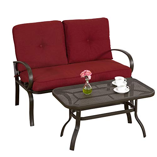 Homevibes 2 Pieces Outdoor Loveseat Patio Love Seat Furniture Set Garden Wrought Iron 2 Seat Bench Backyard Coffee Table Metal Sofa and Table Set with Cushions, Brick Red ()
