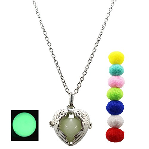 SYGZQ 9 pcs/Set Essential Oil Diffuser Necklace Purfume Pendant Mexican Pregnancy Necklace with Glow bead (angle)