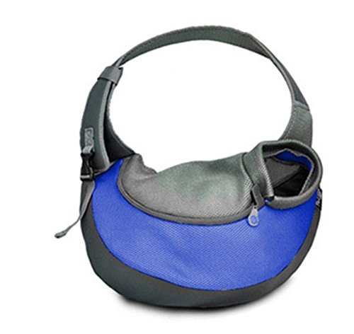 Wooc Portable Soft Pet Carrier Shoulder Sling Bag for Dogs and Cats Travel (Middle, Blue)