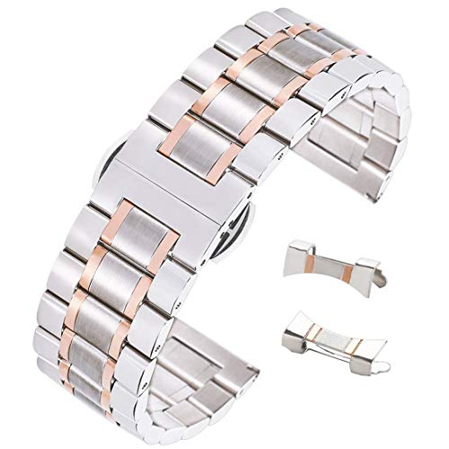 Tone Wrist Watch Solid Two (16mm Dual Tone Wrist Watch Strap Straight Bent End Watch Band Solid Stainless Steel in Silver&Rose Gold)