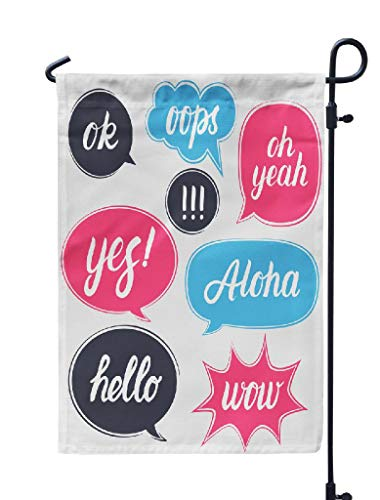 Kutita Garden Flag 12X18 Inch, Flat Speech Bubbles with Aloha s Lettering Weatheproof Double Sided Decorative Outdoor Flag for Garden Yard