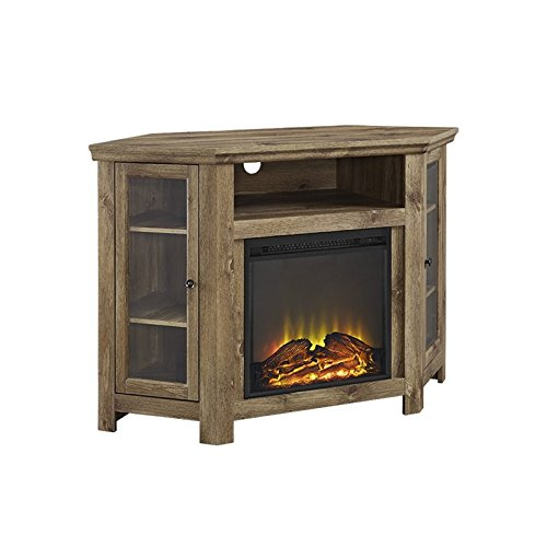 Walker Edison Jackson Collection W48FPCRBW 48'' Wood Corner Media TV Stand Console with Double Doors and Electric Fireplace in (Barnwood) by Walker Edison Furniture Company