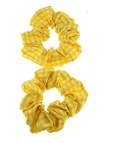 Zac's Alter Ego Set Of 2 Gingham Hair Scrunchies One Size- Elasticated Yellow