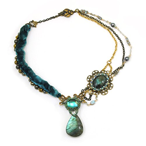 e in Labradorite, Pyrite, Silk Velvet, Mixed Metals; Handcrafted One of a Kind ()