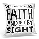 DIYCow Throw Pillow Covers Beliefs We Walk Faith Not Sight Retro Christian Scripture Bible Verse Believe Christ Home Cushion Case Decor Sofa Couch Square Size 20 x 20 Inches Pillowcase