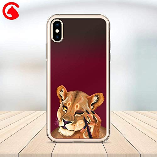 CatixCases Lion Fashion King Head Eyeliner Transparent Case Cell Phone Plastic Сlear Case for Apple iPhone X/XS/XR/XS Max / 7/8 / plus iPhone 6 / 6S plus Protector Protective Cover Art Design