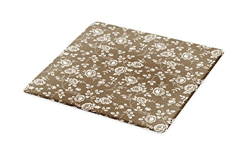 Lunarable Rose Cutting Board, Silhouette Pattern of Rose Branches Twig Ornamental Old Fashioned Antique Design, Decorative Tempered Glass Cutting and Serving Board, Large Size, Dark Taupe (Antique White Twigs)