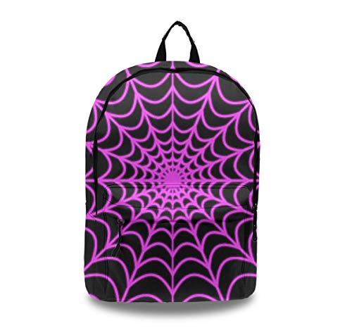Unisex Fashion Durable Casual Backpack, Water Resistant Anti Theft Notebook Laptop Business Travel Bag Middle High College School Student Bookbag Halloween Purple Spider Web Daypack ()