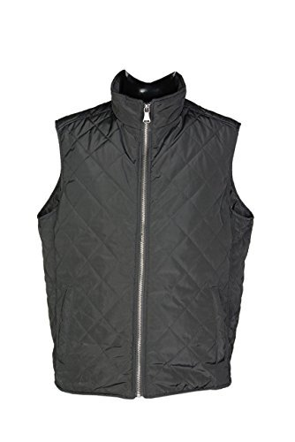 Cotton Zip Vest - Mens Gilet Padded Sleeveless Vest Jacket - Premium Quality with Extra Warmth - by Powerfield (Black, L)