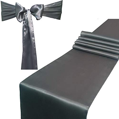 Combo Pack - 2 Satin Table Runners 12 x 108 inch & 10 Chair Sashes for Wedding Banquet Decoration, Bright Silk and Smooth Fabric Party Decor (Combo 2 Table Runner + 10 Chair Saches, Silver Grey) (Elegant Silver Satin)
