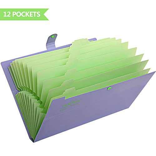 Skydue Expanding File Folders 12 Pockets Accordion File Folder A4 and Letter Size Paper Document Organizer Folders for School Office (Purple)