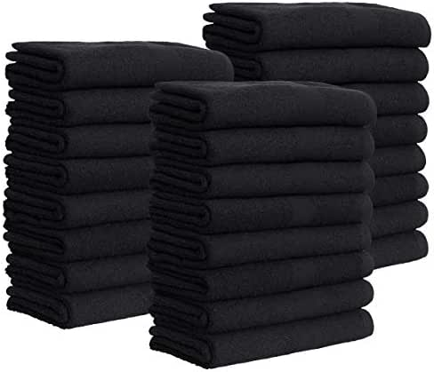 24 Black Bleach Proof Towels Bulk Sets 100% Cotton 16' X 28' Color safe, Stain Resistant, Quick Drying Towels for Beauty, Hair and Nail Salon, Gym, Spa and Home Hair Care Green Lifestyle