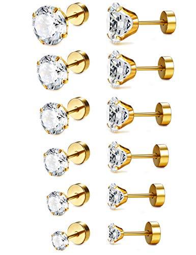 LOLIAS 6-12 Pairs 18G Stainless Steel Flat Back CZ Tragus Stud Earrings for Women Girls Screw Back Cubic Zirconia Stud Earrings Set ()
