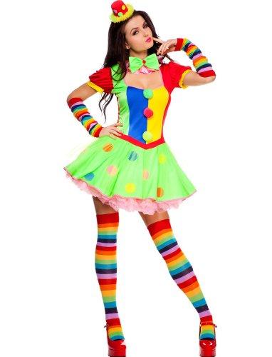 4 PC. Ladies Big Top Babe Clown Dress Costume - X-Large - Multicolors (Lady Clown Costume)
