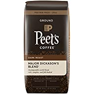 Peet's Coffee, Peetnik Pack, Major Dickason's Blend, Dark Roast, Ground Coffee, 20 oz. Bag, Rich, Smooth, and Complex Dark Roast Coffee Blend With A Full Bodied and Layered Flavor