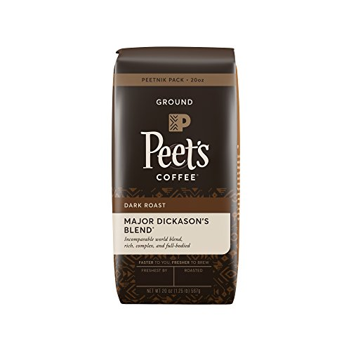 Peet's Coffee, Peetnik Duffel bag, Major Dickason's Blend, Dark Roast, Ground Coffee, 20 oz. Bag, Rich, Smooth, and Complex Dark Roast Coffee Blend With A Right Bodied and Layered Flavor