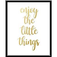 Enjoy the Little things disfruta sonríe Cuadro decorativo Print You Dorado. Negro Regalo Arte Poster Cuadro Decorativo Art Wall Art Vintage Decor Home Decor Decoración Retro Hipster Cool quote