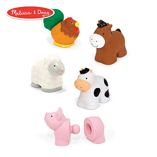 (Melissa & Doug Pop Blocs Farm Animals Educational Baby Toy - 10 Linkable Pieces)