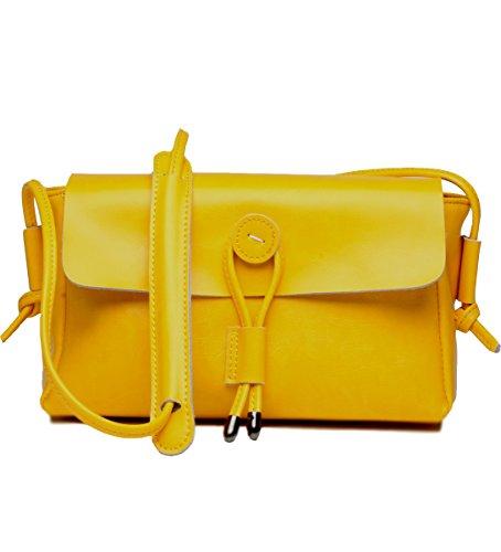 Yellow Genuine Leather (Covelin Women's Fashion Handbag Genuine Leather Envelope Crossbody Shoulder Bag Yellow)