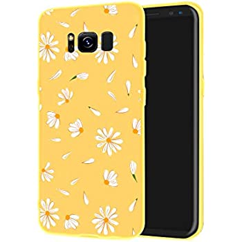 JOYLAND Daisy Flower Phone Case Cover Yellow Slim fit Flexible Matte Phone Cover Floral Cell Phone Case Shell Compatible for Samsung Galaxy S8