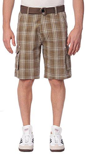 Plaid Khaki Shorts (TR Fashion Men's Cotton Plaid Belted Cargo Shorts (Dark Khaki, X-Large))