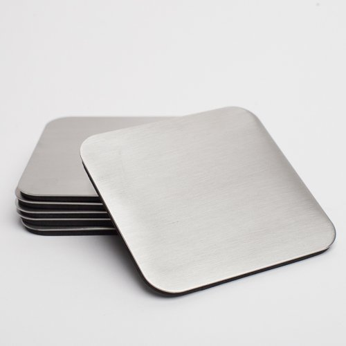 Richland Square Stainless Steel Coaster 4 Set of 6
