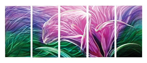 Metal Artscape Wonderland Lily 5-Panel Handmade Metal Wall Art, 24 by 59-Inch