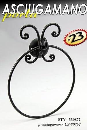 Serie arredo bagno in metallo decorato nero e ceramica appendino