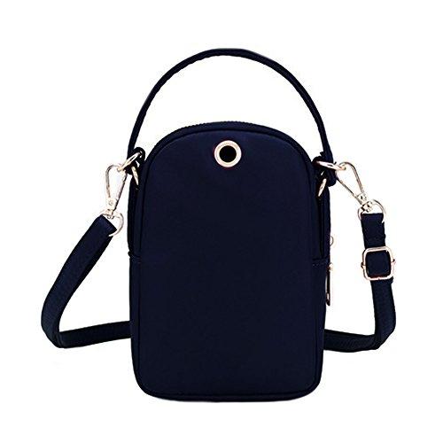 Hole Shoulder Black Headphone Layers Pouch Phone With 3 Women's Handbag Bag Tote Cell Nylon Waterproof qa7BwOwp