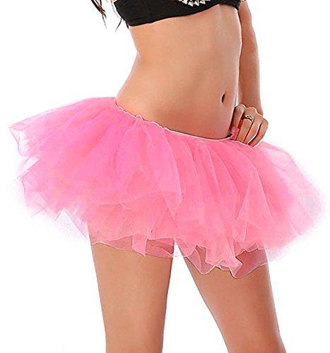 Couches Dguisement Rose pour Ballet Pliss Cosplay Soire Anne Danse 50 Elastique Bal Mini Imixcity Courte Scne Tulle Jupe Femme 6 PZqHng