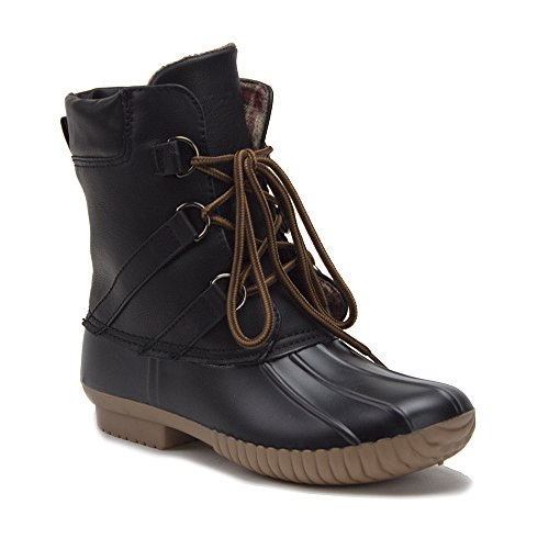 Jaime Aldo Womens Urban Lace Up Two Tone Flannel Lined Winter Rain Duck Boots Black 2iMni3n8a