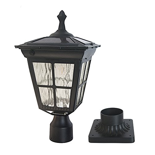 Solar Powered Light Fixture (Kemeco ST4311AQ 6 LED Cast Aluminum Solar Post Light Fixture with 3-Inch Fitter Base for Outdoor Garden Post Pole Mount)