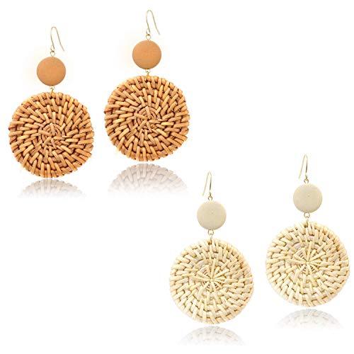 Rattan Dangle Geometri Drop Earrings Set for Women Girls Boho Woven Handmade Lightweight Statement Ear Drops Jewelry (Rattan Direct Contact)